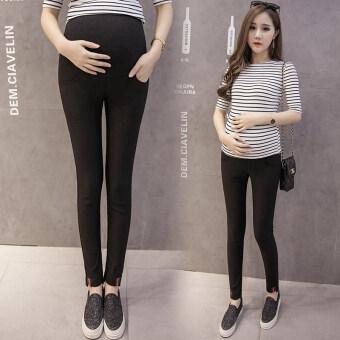 SHI YUE YING HUANG กางเกงขาเล็กเอวสูงดูผอมสำหรับหญิงตั้งครรภ์ (สีดำ)