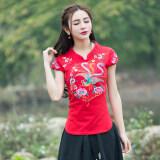ซื้อ จีนลมย้อนยุคปักดอกไม้สลิมผ้าฝ้ายแขนสั้นเสื้อยืด สีแดง ใหม่ล่าสุด