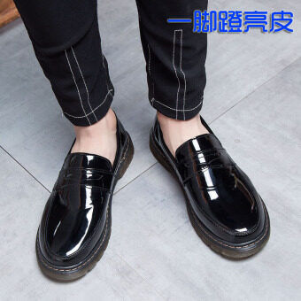 สบายผิวสดใสสีดำรอบรองเท้าผู้ชายรองเท้ามาร์ติน (เหยียบผิวสดใส)