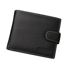 ราคา ราคาถูกที่สุด ผู้ชายหนังวัวแท้กระเป๋าสตางค์กระเป๋าสตางค์เงินรูปกระเป๋า สีดำ