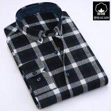 ราคา เสื้อลำลองผ้าฝ้ายเสื้อชายแขนยาว สีดำและสีขาวตาราง ใน ฮ่องกง