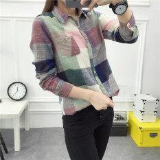 ราคา เสื้อเชิ้ตลายสก๊อตผู้หญิง สไตล์เกาหลีสีแดง สีเขียว สีเขียวลายสก๊อต สีเขียวลายสก๊อต ฮ่องกง