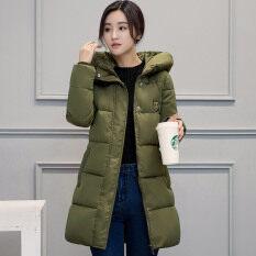 โปรโมชั่น ผ้าฝ้ายแฟชั่นเสื้อผู้หญิงผอมยาวหนา กองทัพสีเขียว ถูก