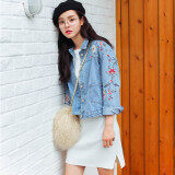 ซื้อ หลวมเกาหลีฤดูใบไม้ผลิหญิงใหม่แจ็คเก็ตปักผ้ายีนส์แจ็คเก็ต ผ้ายีนส์สีฟ้า ถูก ใน ฮ่องกง
