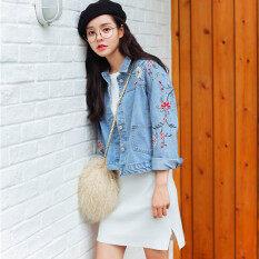 ราคา หลวมเกาหลีฤดูใบไม้ผลิหญิงใหม่แจ็คเก็ตปักผ้ายีนส์แจ็คเก็ต ผ้ายีนส์สีฟ้า เป็นต้นฉบับ