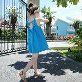 ซื้อ ผ้าฝ้ายและผ้าลินินสาวลูกไม้เชือกแขวนคอชุดเดรส สีฟ้า Skirt ออนไลน์