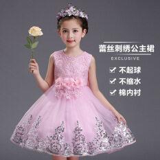 ขาย สาวดอกไม้เด็กเสื้อกั๊กกระโปรงชุดราตรี สีชมพู ใน ฮ่องกง