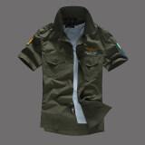 ราคา หนึ่งในกองทัพอากาศเกาหลีผ้าฝ้ายใหม่ในช่วงฤดูร้อนแขนสั้นเสื้อเชิ้ต กองทัพสีเขียว Unbranded Generic