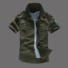 ขาย หนึ่งในกองทัพอากาศเกาหลีผ้าฝ้ายใหม่ในช่วงฤดูร้อนแขนสั้นเสื้อเชิ้ต กองทัพสีเขียว ออนไลน์