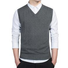 ราคา เสื้อกั๊กถักฤดูใบไม้ผลิและฤดูใบไม้ร่วงของชายหนุ่ม สีเทาเข้ม เป็นต้นฉบับ