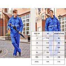 ซื้อ ชุดกันฝน เสื้อ กางเกง หมวก และแถบสีสะท้อนแสง สีน้ำเงิน ใน ไทย
