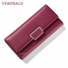 กระเป๋าสตางค์วินเทจ กระเป๋าตังค์ กระเป๋าเงิน กระเป๋าแฟชั่นผู้หญิง กระเป๋าถือใบยาว สีแดง ถูก