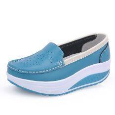 ขาย รองเท้าผู้หญิงแฟชั่นระบายอากาศได้ดี ส้นตึก สีฟ้า สีฟ้า ใน ฮ่องกง