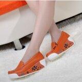โปรโมชั่น รองเท้าผู้หญิงแฟชั่นระบายอากาศได้ดี ส้นตึก สีส้ม สีส้ม ใน ฮ่องกง