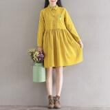 ขาย เย็บปักถักร้อยศิลปะฤดูใบไม้ร่วงใหม่แขนยาวชุดเดรส สีเหลือง ใหม่