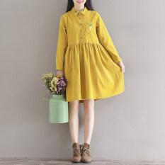 ราคา เย็บปักถักร้อยศิลปะฤดูใบไม้ร่วงใหม่แขนยาวชุดเดรส สีเหลือง เป็นต้นฉบับ Other