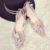 ขาย ซื้อ เกาหลีหญิงใหม่กลวงรองเท้าเดียวหวานรองเท้าส้นสูง สวยสีเผือก