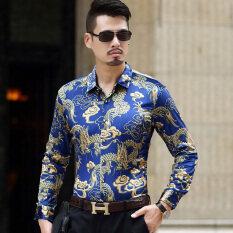 ขาย ลมจีนสบายๆกำมะหยี่สีทองผู้ชายไซส์พิเศษไซส์ใหญ่พิเศษอาภรณ์พิมพ์เสื้อ สีฟ้า ถูก ใน ฮ่องกง