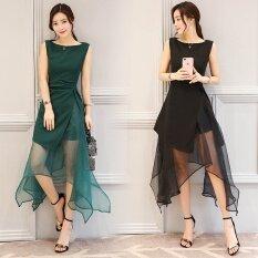 ขาย Sub Super แฟชั่นผ้าไหมแก้วสีดำผิดปกติคำกระโปรงชุดเดรส สีดำ ถูก ฮ่องกง