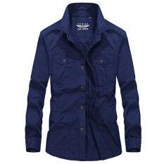 ซื้อ หลวมสบายๆชายฤดูใบไม้ร่วงไซส์พิเศษไซส์ใหญ่พิเศษผู้ชายเสื้อเชิ้ตแขนยาวเสื้อ สีน้ำเงินเข้ม ฮ่องกง