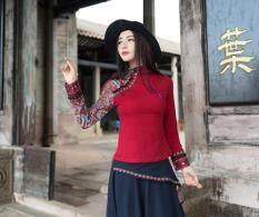 ขาย แห่งชาติลมฤดูใบไม้ร่วงใหม่พิมพ์เสื้อยืด ไวน์แดง ถูก ใน ฮ่องกง