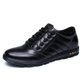 ชายนุ่มรองเท้าหนังเพิ่มความสูงด้านในรองเท้าผู้ชาย 6 cm รองเท้าสไตล์เกาหลีแฟชั่นผู้ชายล่องหนเพิ่มความสูงหัวกลมผูกเชือกรองเท้าสเก็ตบอร์ดน้ำ
