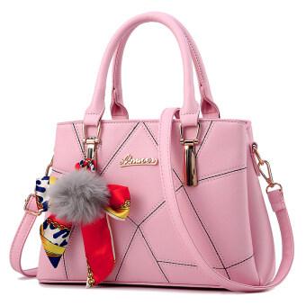 กระเป๋าสะพายผู้หญิง ลายรูปทรงเรขาคณิต (ผ้าพันคอจี้กระเป๋าสีชมพู) (ผ้าพันคอจี้กระเป๋าสีชมพู)