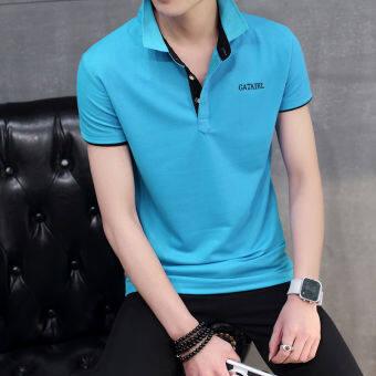 เสื้อยืด ผู้ชายที่มีคอ สไตล์เกาหลี (สีดำสีฟ้าปก) (สีดำสีฟ้าปก)