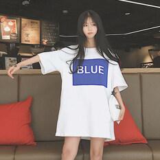 ทบทวน หลวมเกาหลีฤดูใบไม้ผลิและฤดูใบไม้ร่วงลมกระโปรงเสื้อยืดกระโปรง สีขาว