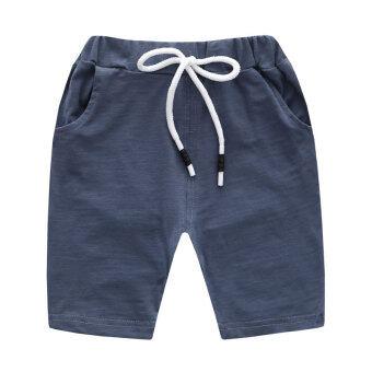 Review กางเกงสบายๆกางเกงขาสั้นผ้าฝ้ายใหม่เด็กชาย (น้ำเงิน)