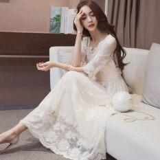 ขาย ชุดเดรสสุภาพสตรีสีขาวใหม่ส่วนยาว สีขาว ถูก ใน ฮ่องกง