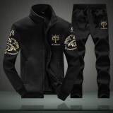 ราคา ชุดลำลองผู้ชายมีเสื้อแจ๊คเกตและกางเกงวอร์ม สีดำ ชุด สีดำ ชุด ใหม่ ถูก