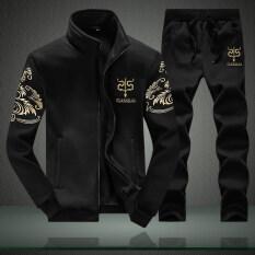 ส่วนลด ชุดลำลองผู้ชายมีเสื้อแจ๊คเกตและกางเกงวอร์ม สีดำ ชุด สีดำ ชุด Other ใน ฮ่องกง