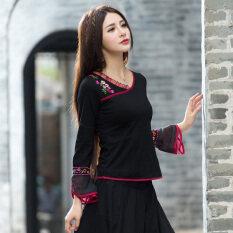 ขาย เสื้อเชิ้ตแขนยาวทรงแตรถักลายดอกไม้ผ้าฝ้ายของสตรี สีดำ Unbranded Generic เป็นต้นฉบับ