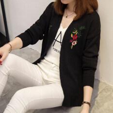 โปรโมชั่น หญิงเย็บปักถักร้อยดอกไม้เวตเตอร์ถักเสื้อกันหนาวใหม่ สีดำ