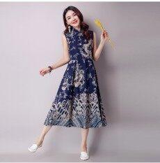 ซื้อ แห่งชาติลมฤดูใบไม้ผลิและฤดูร้อนใหม่ของผู้หญิงหลาใหญ่ชุดแขนกุดชุดเสื้อกั๊ก น้ำเงิน น้ำเงิน Unbranded Generic