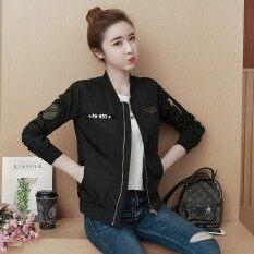 ซื้อ หลวมเกาหลีเบสบอลเครื่องแบบหญิงฤดูใบไม้ผลิและฤดูใบไม้ร่วงเสื้อนักบินเสื้อกันหนาว สีดำ