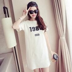 ซื้อ Liang Ni Meng เสื้อยืดคอกลมหญิง แขนสั้น เสื้อยาวกลาง สีขาว สีขาว สีขาว ออนไลน์