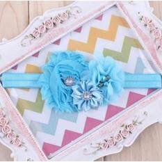 ราคา ราคาถูกที่สุด ที่คาดผมเด็ก ผ้าคาดผมเด็ก ที่คาดผมโบว์ ที่คาดผมทารก สีฟ้าช่อดอกไม้ประดับเพชรอย่างสวยงาม