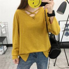 โปรโมชั่น หลวมเกาหลีหญิงใหม่ระวังป่า Bottoming เสื้อเสื้อยืด สีเหลือง ถูก