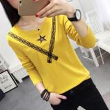 ราคา เย็บลูกไม้กลวงแขนยาวเสื้อยืดฤดูใบไม้ร่วงใหม่เสื้อยืด สีเหลือง ที่สุด