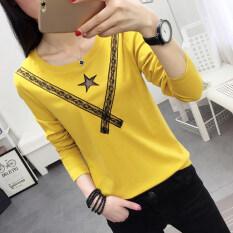 ซื้อ เย็บลูกไม้กลวงแขนยาวเสื้อยืดฤดูใบไม้ร่วงใหม่เสื้อยืด สีเหลือง ออนไลน์ ถูก