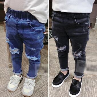 ทารกเกาหลีเด็กชายลำลองกางเกงหลุมกางเกงยีนส์ (สีดำ)