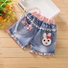 ขาย เด็กนอกสวมใส่กางเกงขาสั้นสาวยีนส์กางเกงขาสั้น กระต่ายสีขาวลูกไม้ ผู้ค้าส่ง