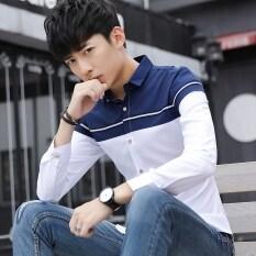 ราคา เกาหลีชายแขนยาวผอมลำลองเสื้อฤดูใบไม้ผลิเสื้อ น้ำเงิน Other ฮ่องกง