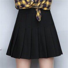 ซื้อ ไซส์พิเศษไซส์ใหญ่พิเศษพัฟ Culottes คำจีบกระโปรงเกาหลีกระโปรง สีดำ