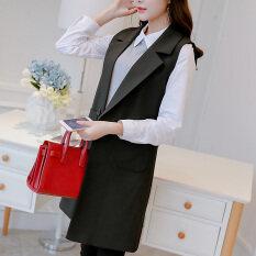 ราคา เสื้อกั๊กเกาหลีเสื้อกั๊กแขนกุดใหม่ผอม สีดำ ใหม่ ถูก