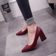 ราคา ราคาถูกที่สุด ป่าหนังสิทธิบัตรหญิงรองเท้ามืออาชีพสีดำรองเท้าส้นสูง ไวน์แดง