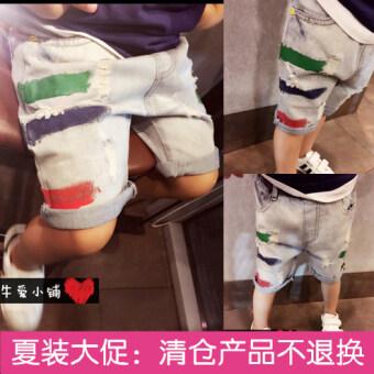 แฟชั่นกางเกงยีนส์ขา5ส่วนของเด็ก อายุปานกลาง