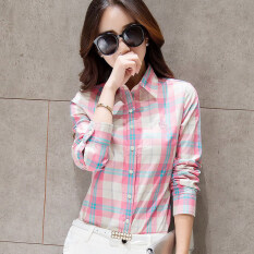 โปรโมชั่น Berrykega เสื้อเชิ้ตแขนยาวลายสก๊อตคอปปก สไตล์ผู้หญิงเกาหลี สีชมพูลายสก๊อต สีชมพูลายสก๊อต ถูก